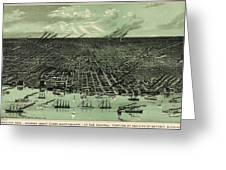 Vintage 1889 Detroit Michigan Map Greeting Card