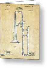 Vintage 1902 Slide Trombone Patent Artwork Greeting Card