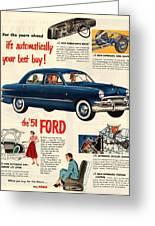 Vintage 1951 Ford Car Advert Greeting Card