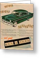 Vintage 1954 Ford Classic Car Advert Greeting Card