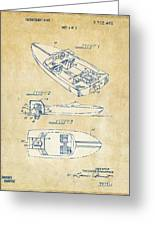 Vintage 1972 Chris Craft Boat Patent Artwork Greeting Card
