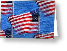 Vintage Amercian Flag Abstract Greeting Card