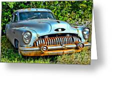 Vintage American Car In Yard Greeting Card