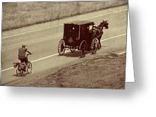 Vintage Amish Buggy And Bicycle Greeting Card
