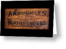 Vintage Arbuckles Roasted Coffee Sign Greeting Card