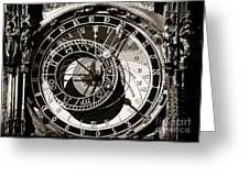 Vintage Astronomical Clock Greeting Card by John Rizzuto