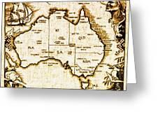 Vintage Australia Map Greeting Card