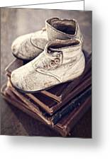 Vintage Baby Boots And Books Greeting Card
