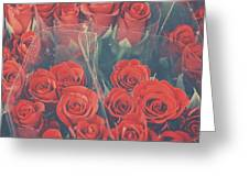 Vintage Background Of Roses In Bouquet Greeting Card