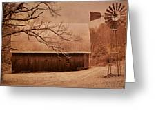 Vintage Barn And Windmill Winter Greeting Card