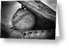 Vintage Baseball And Glove Greeting Card