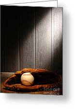 Vintage Baseball Greeting Card by Olivier Le Queinec