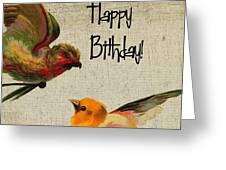Vintage Birthday Birds Greeting Card