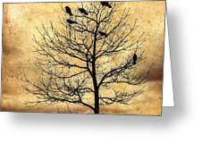 Vintage Blackbirds On A Winter Tree Greeting Card