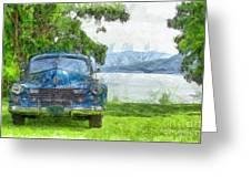 Vintage Blue Caddy At Lake George New York Greeting Card