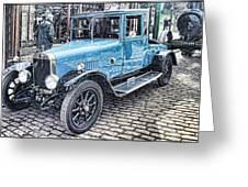 Vintage Blue Car 2 Greeting Card