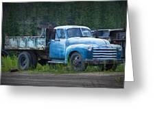 Vintage Blue Chevrolet Pickup Truck Greeting Card