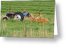 Vintage Blue Tractor Greeting Card