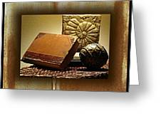 Vintage Book Fossil And Carved Orb Greeting Card
