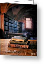 Vintage Books And Glasses In An Old Library Greeting Card