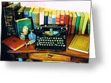 Vintage Books And Typewriter Greeting Card