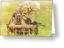 Vintage Camera And Case Greeting Card
