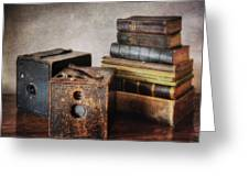 Vintage Cameras And Books Greeting Card