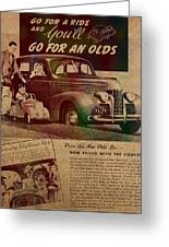 Vintage Car Advertisement 1939 Oldsmobile On Worn Faded Paper Greeting Card