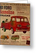 Vintage Car Advertisement 1961 Ford Econoline Truck Ad Poster On Worn Faded Paper Greeting Card