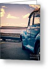 Vintage Car At The Beach  Greeting Card