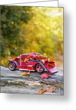 Vintage Car With Autumn Leaves Greeting Card