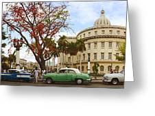 Vintage Cars Parked On A Street Greeting Card