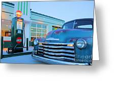 Vintage Chevrolet At The Gas Station Greeting Card