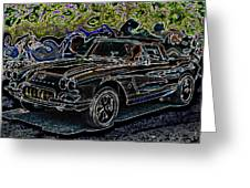 Vintage Chevy Corvette Black Neon Automotive Artwork Greeting Card