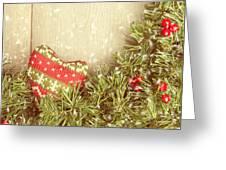 Vintage Christmas Garland Greeting Card by Amanda Elwell