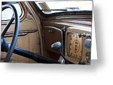 Vintage Chrysler Auto Dashboard And Steering Wheel Poster Look Greeting Card