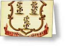 Vintage Connecticut Coat Of Arms - 1876 Greeting Card