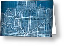 Vintage Detroit Rail Concept Street Map Blueprint Plan Greeting Card