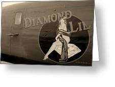 Vintage Diamon Lil B-24 Bomber Aircraft Greeting Card