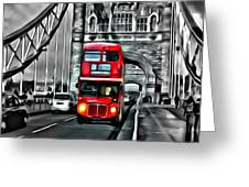 Vintage Double Decker In London Greeting Card