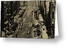 Vintage Downtown View Greeting Card