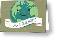 Vintage Earth Day Poster. Cartoon Earth Greeting Card