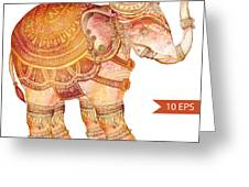 Vintage Elephant Illustration. Hand Greeting Card