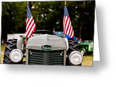 Vintage Ferguson Tractor With American Flags Greeting Card