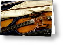 Vintage Fiddle In The Case Greeting Card