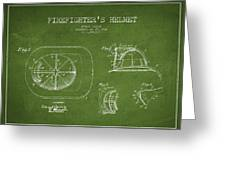 Vintage Firefighter Helmet Patent Drawing From 1932 - Green Greeting Card