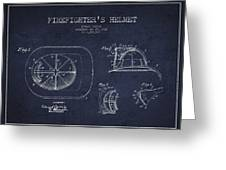 Vintage Firefighter Helmet Patent Drawing From 1932 - Navy Blue Greeting Card