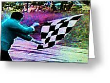 Vintage Formula 1 Race Checkered Flag  Greeting Card