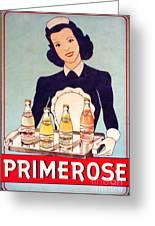 Vintage French Tin Sign Primerose Greeting Card