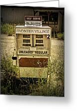Vintage Gas Pump At An Abandoned Filling Station Greeting Card